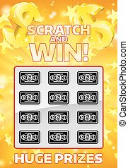 Lottery Instant Scratchcard - An illustration of a lottery ...