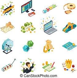 Lottery Isometric Icons Set