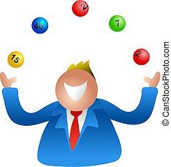 lottery juggle - man juggling lottery balls