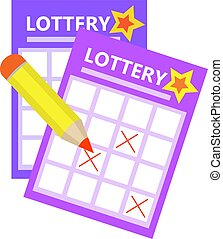 Lottery ticket, bingo win icon flat style. Isolated on a white background. Vector illustration