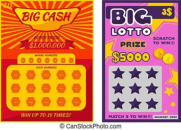 Lottery ticket vector lucky bingo card win chance lotto game jackpot ticketing set illustration lottery gaming tickets isolated on white background