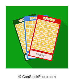 Lottery tickets. Chance to win the jackpot. Gambling in the casino.Kasino single icon in flat style bitmap symbol stock illustration.
