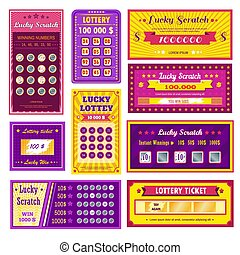 Lottery tickets lucky scratch bright glossy templates set