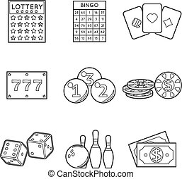 Lottery vector icon set