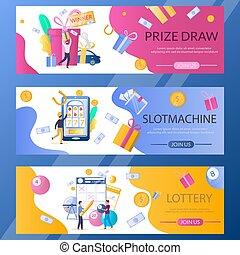 Lottery web banner template set, vector illustration