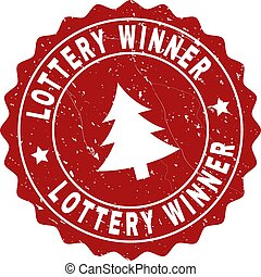 LOTTERY WINNER Grunge Stamp Seal with Fir-Tree