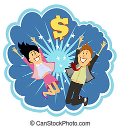Lottery winners celebrating leaping in the air and cheering with delight in front of an explosion with a dollar sign depicting their win vector bubble illustration