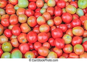 lotti, di, pomodori, in, il, negozio