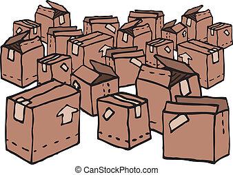 lotti, disordinato, scatole, /, casato
