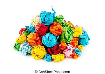 lotti, recylcing, concetto, carta, colorare