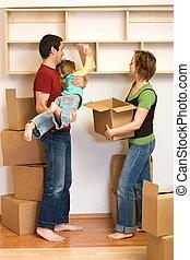 lotti, scatole, cartone, famiglia, disimballaggio