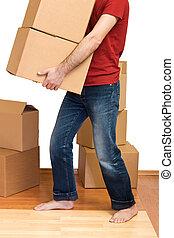 lotti, scatole, cartone, uomo