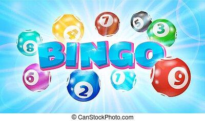 Lotto balls around the word Bingo glowing blue background