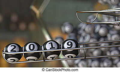 Lotto balls make up 2019 number. Realistic 3D rendering
