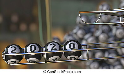 Lotto balls make up 2020 number. 3D rendering