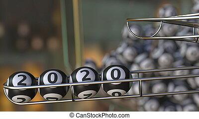 Lotto balls make up 2020 number. 3D rendering