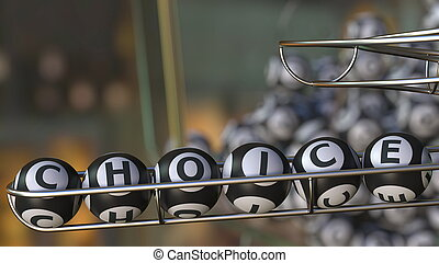 Lotto balls make up CHOICE word. 3D rendering