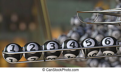Lotto balls make up number 1 2 3 4 5 6 sequence. 3D rendering