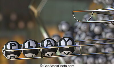 Lotto balls make up PLAY word. 3D rendering