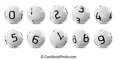 lotto, bingo grey balls with numbers