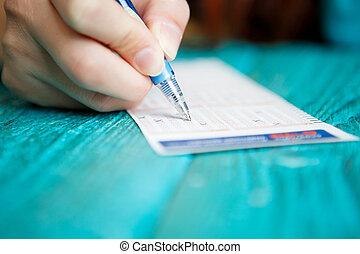 lotto, foto, hand, stift, fahrschein, mannes