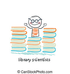 lotto, libri, leva piedi, biblioteca, scienziati