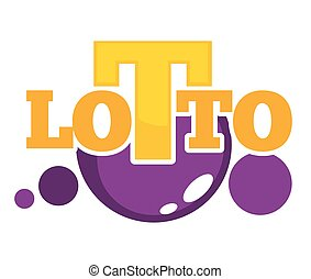 Lotto promotional emblem with shiny balls and big letters