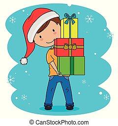 lotto, santa, portante, cappello, regali, bambino