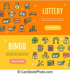 Lotto Signs Banner Horizontal Set. Vector