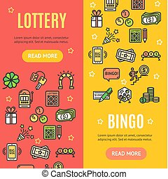 Lotto Signs Banner Vecrtical Set. Vector