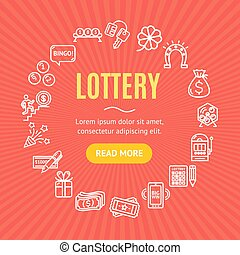 Lotto Signs Round Design Template Line Icon Concept. Vector