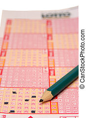 lotto ticket with pencil part filled out