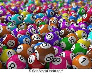 lottokugeln, mit, schärfentiefe