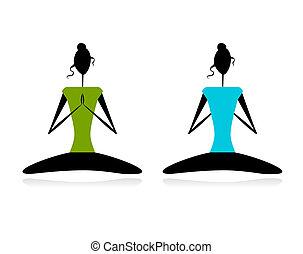 lotus, öva, yoga, pose., kvinnor