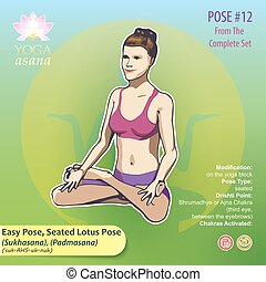 lotus, 12, yoga, assis, pose