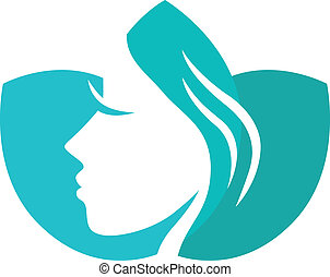 Beautiful female in turquoise lotus flower. Vector