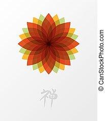 lotus, begreb, zen, blomst, illustration