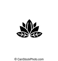Lotus black icon concept. Lotus flat  vector symbol, sign, illustration.