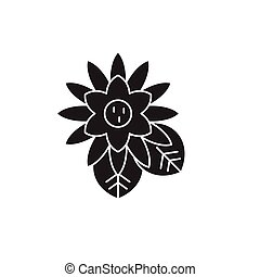Lotus black vector concept icon. Lotus flat illustration, sign