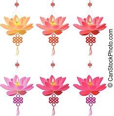 lotus, chinois, collection, lanterne