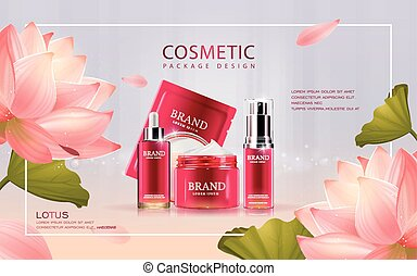 Lotus cosmetic ads template, 3D illustration cosmetic mockup...