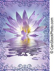 lotus, decoratief, rand