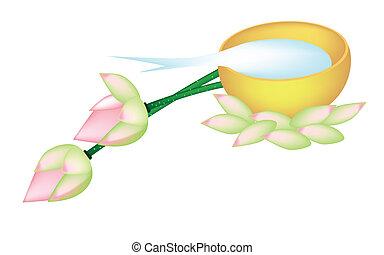 lotus, doré, bol, deux, eau