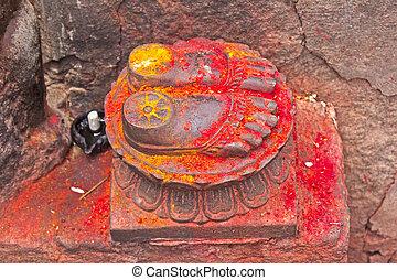 Lotus feet of the Goddess Chamunda on the Chamunda hill