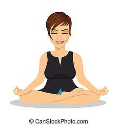 lotus, femme affaires, pose, méditer, calme