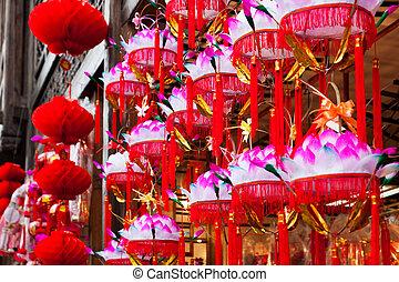 lotus, festival, lanternes, papier, pendre