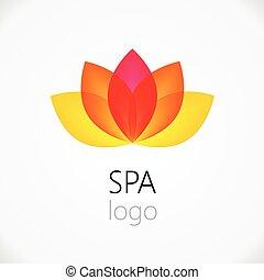 Lotus flower abstract vector logo design template