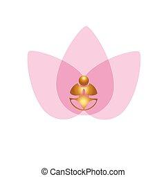 Lotus flower buddha yoga meditation logo vector image
