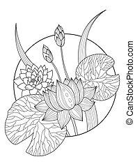Lotus Flower Fashion Vector Illustration Tattoo Stencil Lace Pattern