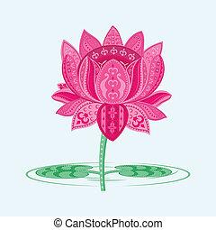 Lotus Flower - easy to edit vector illustration of lotus in ...